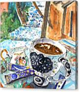 Coffee Break In Elos In Crete Canvas Print