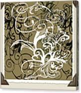 Coffee Flowers 1 Olive Scrapbook Canvas Print