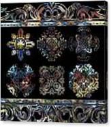 Coffee Flowers Ornate Medallions 6 Piece Collage Aurora Borealis Canvas Print