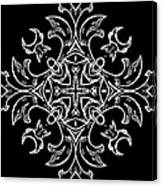 Coffee Flowers Ornate Medallions Bw Vertical Tryptych 1 Canvas Print