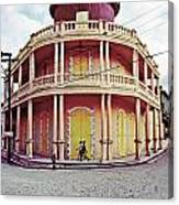 Coffee House With Boys Walking Canvas Print