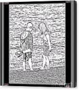 Collecting Seashells By The Seashore Canvas Print