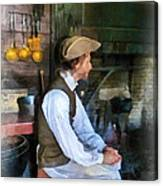 Colonial Man In Kitchen Canvas Print
