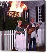 Colonial Musicians By Firelight Canvas Print