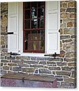 Colonial Shutters Window Frame Stone Wall Wood Box Canvas Print