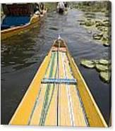Colorful Boats On Dal Lake Dal Lake Canvas Print