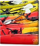 Colorful Canoes Canvas Print