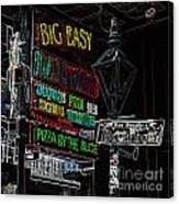 Colorful Neon Sign On Bourbon Street Corner French Quarter New Orleans Glowing Edges Digital Art Canvas Print