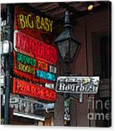 Colorful Neon Sign On Bourbon Street Corner French Quarter New Orleans Poster Edges Digital Art Canvas Print