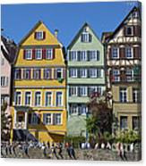 Colorful Old Houses In Tuebingen Germany Canvas Print