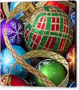 Colorful Ornaments With Ribbon Canvas Print