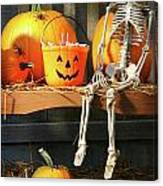 Colorful Pumpkins And Skeleton On Bench Canvas Print