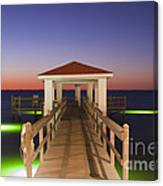 Colorful Sunrise With Fishing Pier At The Texas Gulf Coast Canvas Print