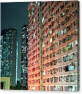 Colors Of A Housing Estate At Night Canvas Print