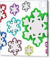 Coloured Snowflakes Isolated Canvas Print
