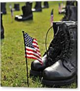 Combat Boots Are Placed In Formation Canvas Print