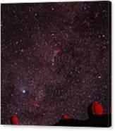 Composite Image Of Halley's Comet & Mauna Kea Canvas Print