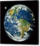 Composite Image Of Whole Earth Blue Canvas Print