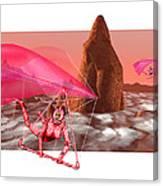 Computer Artwork Of Women Hang-gliding On Mars Canvas Print