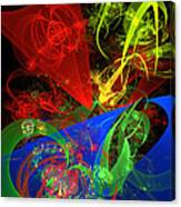 Computer Generated Blue Red Green Abstract Fractal Flame Modern Art Canvas Print