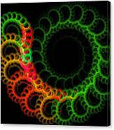 Computer Generated Green Red Abstract Fractal Flame Modern Art Canvas Print