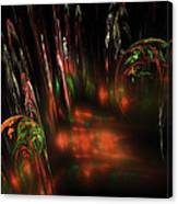 Computer Generated Red Green Abstract Fractal Flame Modern Art Canvas Print