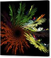 Computer Generated Red Yellow Green Abstract Fractal Flame Black Canvas Print