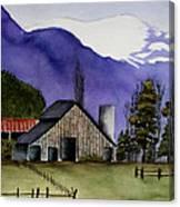Concrete Barn Watercolor Canvas Print