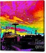 Coney Island In Neon B Flat Minor Canvas Print