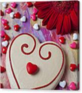 Cookie And Candy Hearts Canvas Print