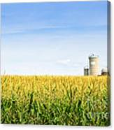 Corn Field With Silos Canvas Print