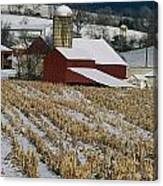 Corn Stubble And Barn In A Wintery Canvas Print