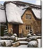 Cotswolds Cottage Covered In Snow Canvas Print