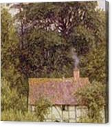 Cottage Near Brook  Canvas Print