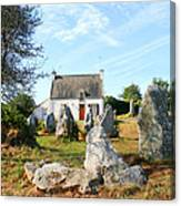 Cottage With Standing Stones Canvas Print