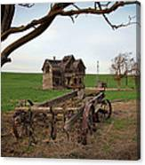 Country Home And Wagon Canvas Print