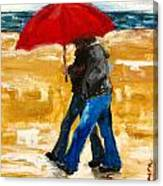 Couple Under A Red Umbrella Canvas Print