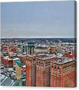 Courthouse And Statler Towers Winter Canvas Print