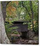 Covered Bridge By The Cottage  Canvas Print