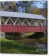Covered Bridge In Fall Canvas Print