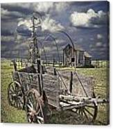 Covered Wagon And Farm In 1880 Town Canvas Print