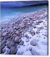 Covered With Snow Pebbled Shore Of Georgian Bay Canvas Print