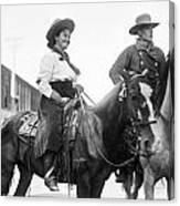 Cowboy And Cowgirl, C1908 Canvas Print