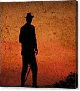 Cowboy At Sunset Canvas Print