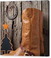 Cowboy Boots And Christmas Ornaments Canvas Print