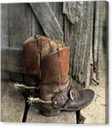 Cowboy Boots With Spurs Canvas Print