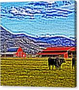Cows Pasture Barns Superspecialeffect Canvas Print