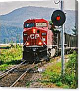 Cp Coal Train And Signal Canvas Print