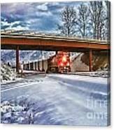 Cp Rail Coal Train Under Bridge Hdr Canvas Print