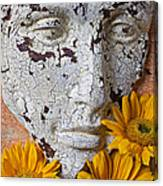 Cracked Face And Sunflowers Canvas Print